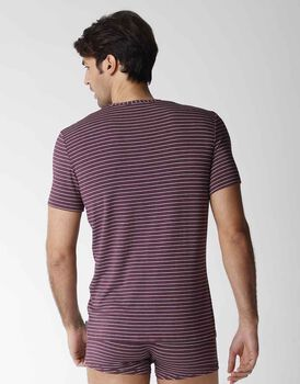 T-shirt uomo manica corta con scollo a V in micromodal, bordeaux, , LOVABLE
