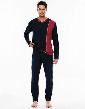 Pigiama manica e gamba lunga blu navy in jersey di cotone con scollo a V-LOVABLE
