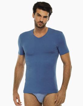 T-shirt azzurra, in micromodal con scollo a V, , LOVABLE