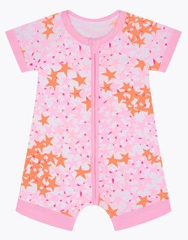 Pagliaccetto in cotone elasticizzato, stampa stelle rosa, , LOVABLE
