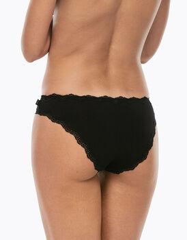 Slip mini Lovely nero in cotone elasticizzato con pizzo-LOVABLE