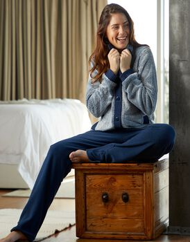 Homewear donna lungo in pelliccetta e pile, grigio e blu, , LOVABLE