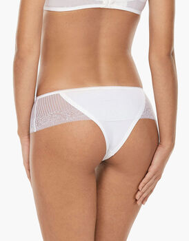 Culotte brasiliano Invisibile Exclusive bianco in microfibra e pizzo-LOVABLE