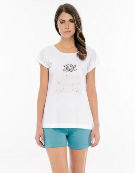 Pigiama manica e gamba corta bianco in jersey di cotone con stampa piazzata su casacca-LOVABLE