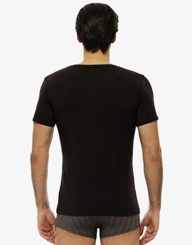 T-shirt manica corta, cioccolato, in cotone modal, girocollo-LOVABLE