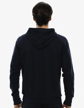 Maglia manica lunga blu notte in felpa leggera con tasca centrale-LOVABLE