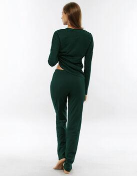 Pigiama manica e gamba lunga, verde lago, in jersey di cotone-LOVABLE