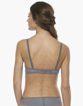 Reggiseno push up grigio scuro, in tulle ricamato, raso elasticizzato e tulle elasticizzato, , LOVABLE