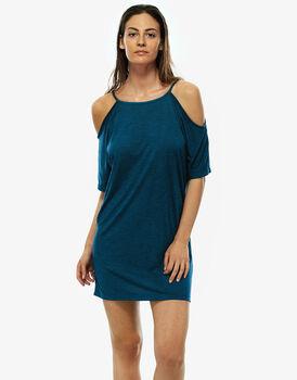 Maxi t-shirt verde petrolio in viscosa, apertura sulle spalle, , LOVABLE