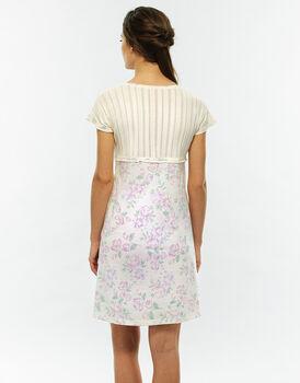 Camicia da notte manica corta, stampa acquerello, in jersey-LOVABLE