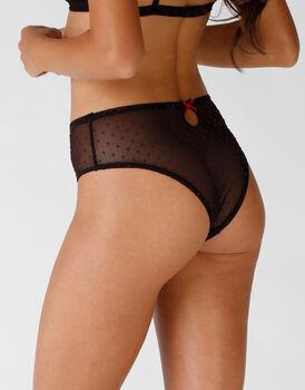 Brasiliano vita alta nero in tulle elasticizzato con pois rossi floccati, , LOVABLE