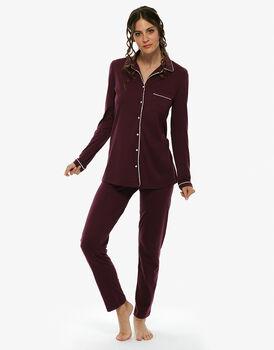 Pigiama amaranto in cotone modal con pantalone con casacca con profili in raso e taschino-LOVABLE