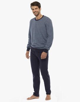 Homewear manica e gamba lunga, righe blu polvere, in felpa piquet, , LOVABLE