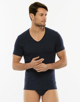 T-Shirt Cotton Stretch blu in cotone elasticizzato con scollo a V profondo-LOVABLE
