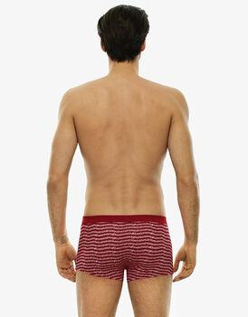 Short boxer rosso stampato in cotone elasticizzato-LOVABLE