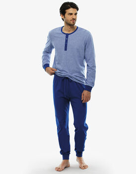 Pigiama manica e gamba lunga righe blu royal, in jersey fil a fil, serafino-LOVABLE