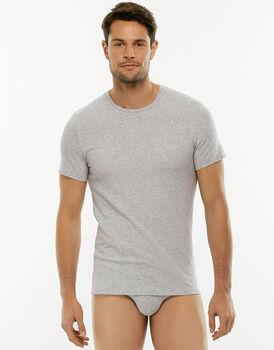 T-Shirt girocollo Cotton Stretch grigio melange in cotone elasticizzato-LOVABLE