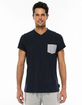 Maglia manica corta blu navy in jersey di cotone con scollo a V-LOVABLE
