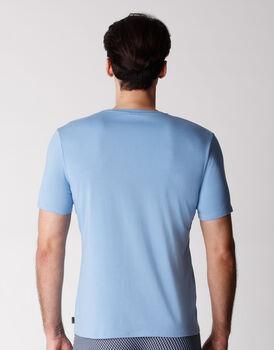 T-shirt scollo rotondo uomo in cotone modal, azzurro polvere, , LOVABLE
