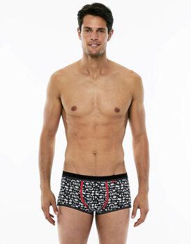 Panty Boxer nero stampato in cotone elasticizzato-LOVABLE