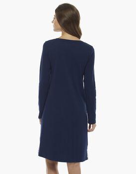 Camicia da notte manica lunga, blu, in cotone con inserti in pizzo , , LOVABLE
