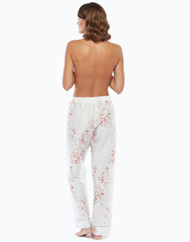 Pantalone lungo in raso con stampa a fiori, , LOVABLE