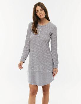 Vestaglia grigio stampa pois in jersey con scollo serafino-LOVABLE