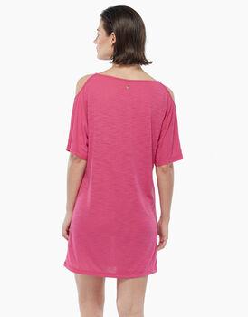 Maxi t-shirt, in viscosa fiammata, fucsia, , LOVABLE