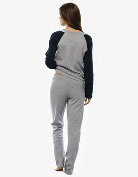 Pigiama manica e gamba lunga in interlock 100% cotone, grigio melange-LOVABLE