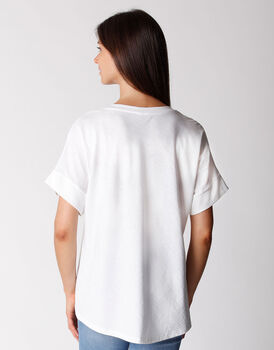 T-shirt manica 3/4 in cotone organico, bianca, , LOVABLE