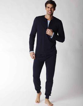 Pigiama uomo lungo in jersey 100% cotone, blu notte, , LOVABLE