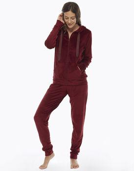 Homewear manica e gamba lunga bordeaux, in ciniglia, aperto con zip , , LOVABLE