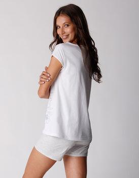 Pigiama corto in jersey di 100% cotone, bianco, , LOVABLE