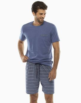 Pigiama manica e gamba corta, blu polvere, in jersey 100% cotone , , LOVABLE
