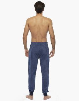 Pantalone lungo, stampa check blu, in jersey di cotone, , LOVABLE