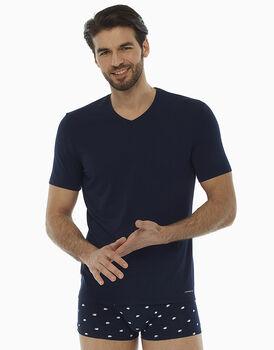 T-shirt scollo a V blu notte in cotone modal , , LOVABLE
