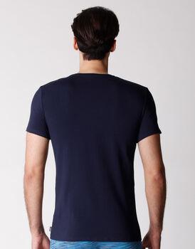 T-shirt girocollo uomo in cotone elasticizzato, blu navy, , LOVABLE