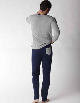 Pigiama uomo lungo in jersey, grigio melange, , LOVABLE