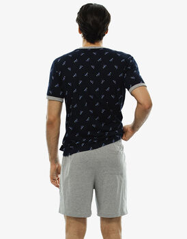 Pigiama manica e gamba corta blu notte stampato in jersey-LOVABLE