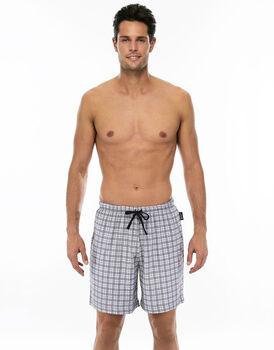Pantalone corto stampa tartan in jersey di cotone con coulisse in vita-LOVABLE