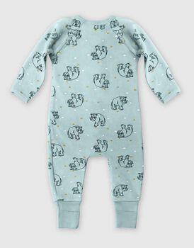 Tutina lunga per neonato con zip in ciniglia elasticizzata, azzurra stampa rinoceronte, , LOVABLE