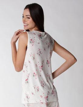 Smanicato del pigiama in viscosa, stampa floreale, , LOVABLE