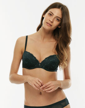Reggiseno Celebrity push-up balconette con ferretto, verde, in pizzo elasticizzato -LOVABLE