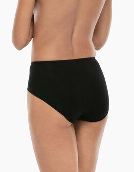 Slip midi Lovely Charme nero in cotone elasticizzato con pizzo-LOVABLE