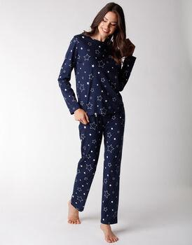 Pigiama donna lungo in jersey di cotone, blu con stelle, , LOVABLE