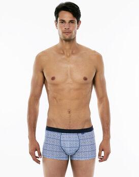 Short Boxer stampa grigio e blu in cotone elasticizzato-LOVABLE