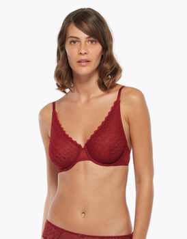 Reggiseno ferretto in pizzo e tulle, color biking red, , LOVABLE