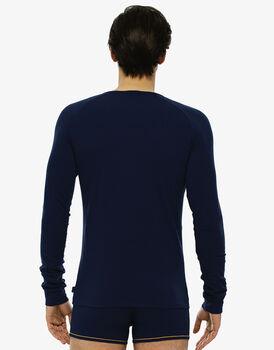 T-shirt manica lunga girocollo blu brillante in cotone elasticizzato-LOVABLE