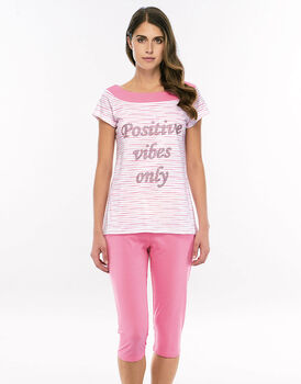Pigiama manica corta pinocchietto rosa scuro in jersey di cotone con stampa piazzata in paillettes-LOVABLE
