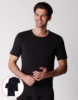T-shirt girocollo uomo in cotone biologico, confezione x2 nero, , LOVABLE